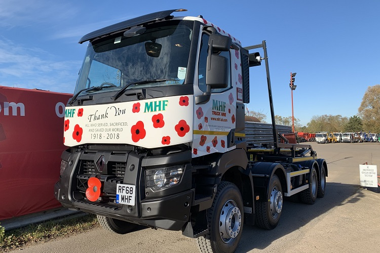 MHF UK commemorate Remembrance Day with poppy-themed truck