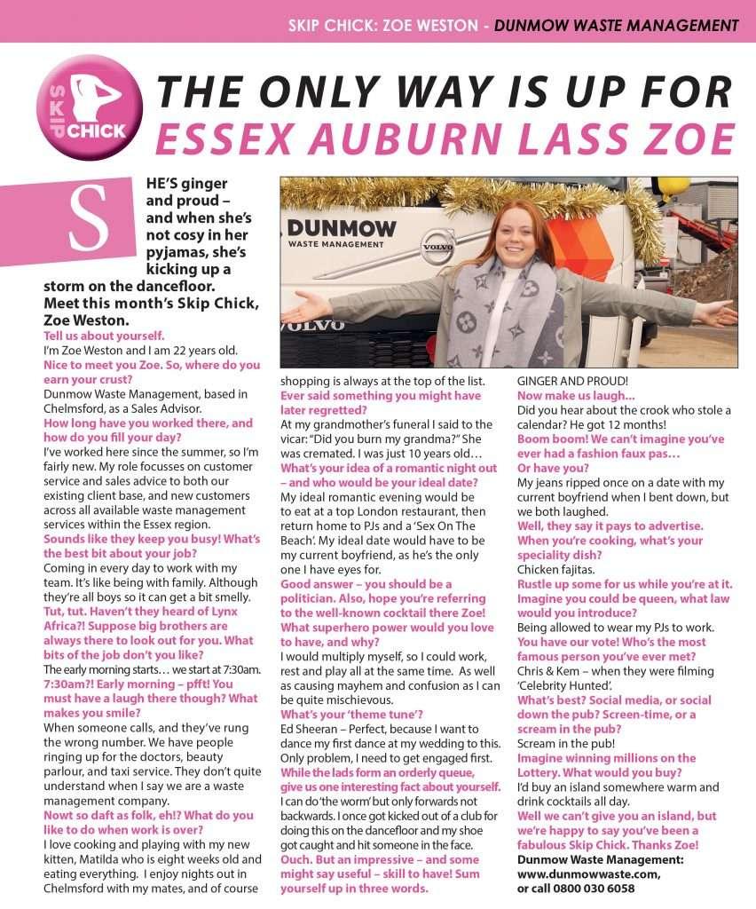 December's Skip Chick: Zoe Weston of Dunmow Waste