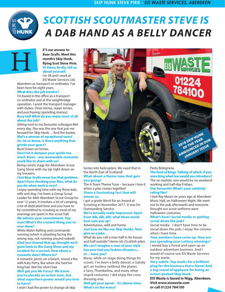 December's Skip Hunk: Steve Pirie of EIS Waste Services