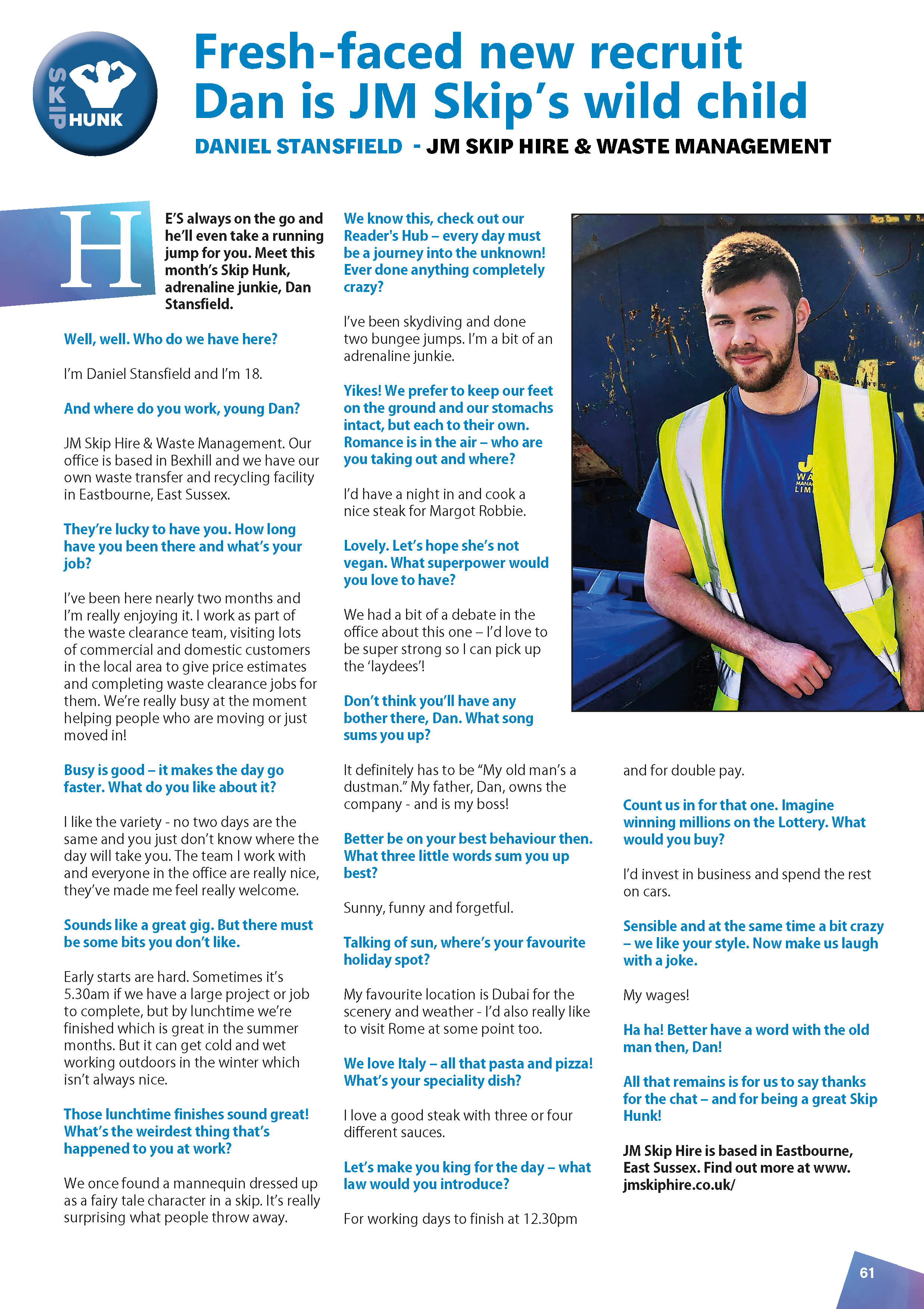 June's Skip Hunk: Daniel Stansfield from JM Skip Hire & Waste Management