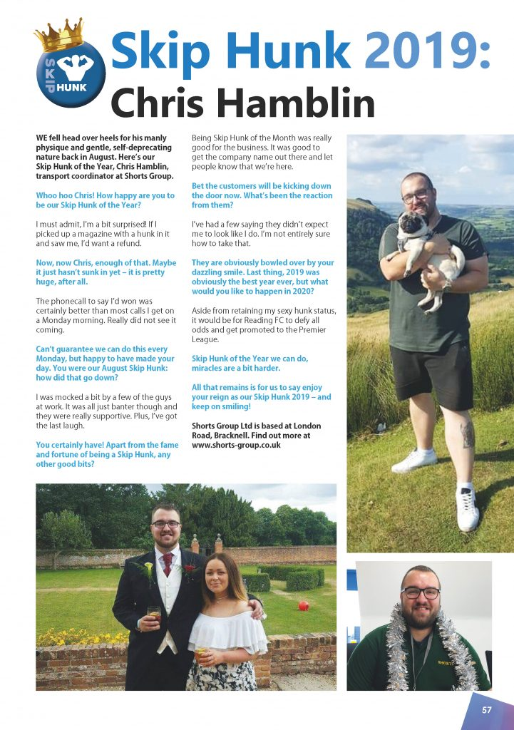 Skip Hunk of the Year 2019: Chris Hamblin from Shorts Group Ltd