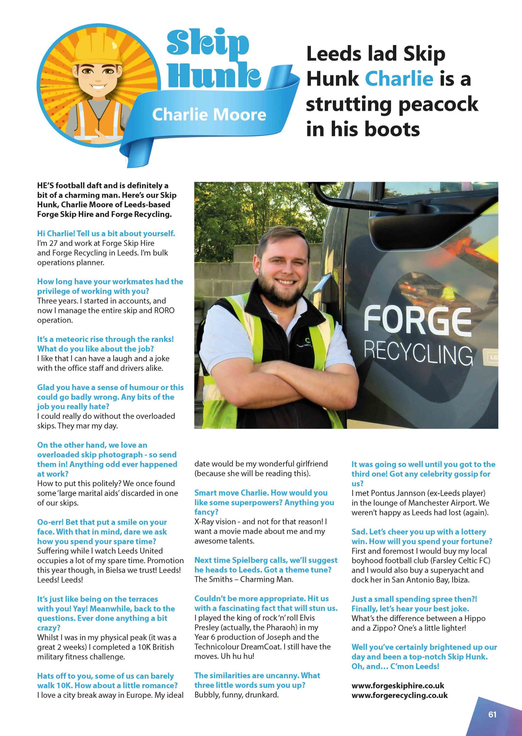 March Skip Hunk: Charlie Moore from Forge Recycling