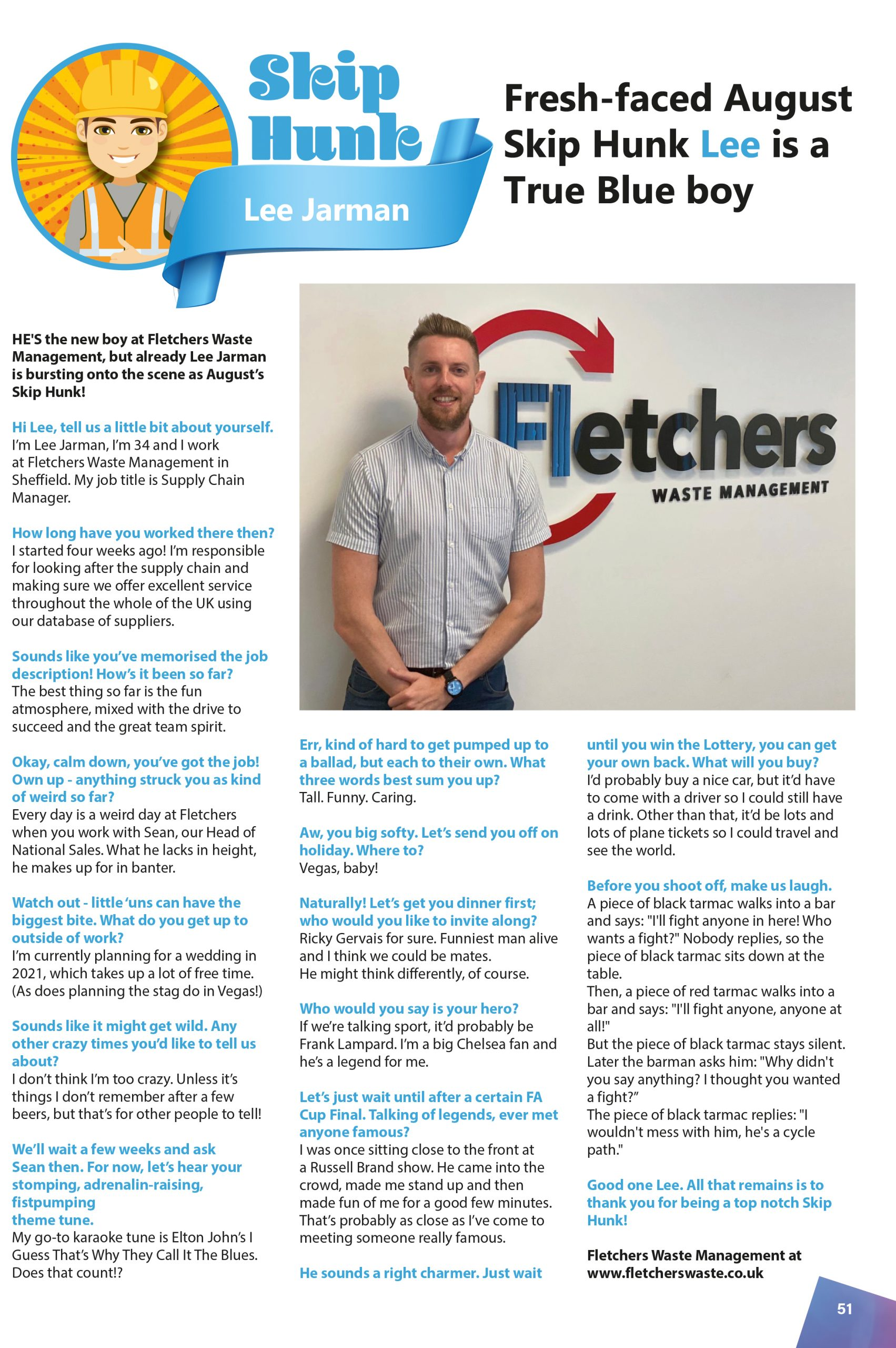 August's Skip Hunk: Lee Jarman of Fletchers Waste Management
