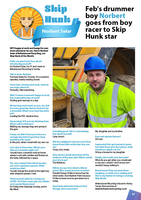 February's Skip Hunk: Norbert Selar from Britaniacrest Recycling