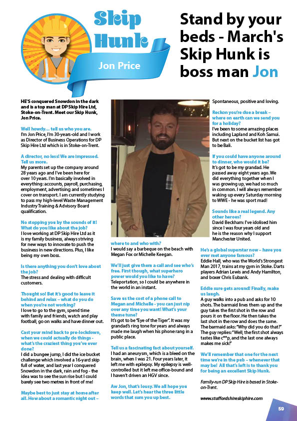 March's Skip Hunk: Jon Price from DP Skip Hire
