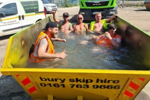 Bury Skip Hire lads go for a skippy-dip